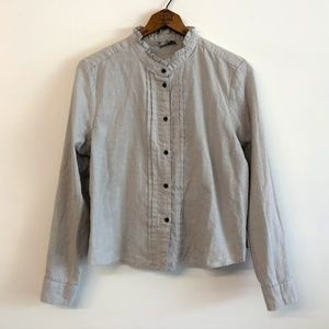 ASOS Gray Striped Tuxedo Ruffle Button Up Shirt